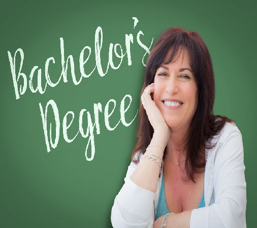 "Picture of young woman and ""Bachelor's Degree"" title"