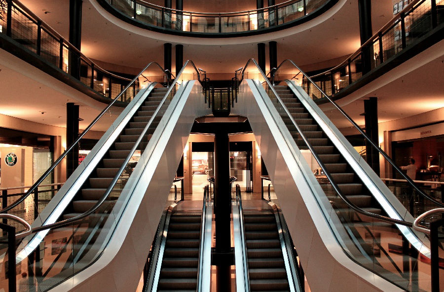 Picture of dual escalators in modern building